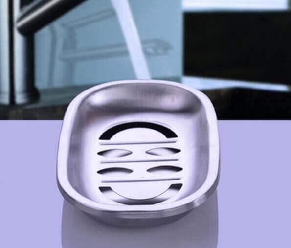 Juego de baño 4 piezas METAL acero inoxidable ecológico, sostenible, comprar sin plástico, sin plástico, bandeja para el jabón