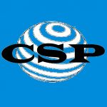 LOGO COMPRAR SIN PLASTICO.COM ABREVIATURA CSP EN LETRA NEGRA SOBRE FONDO AZUL btc bch ltc dash