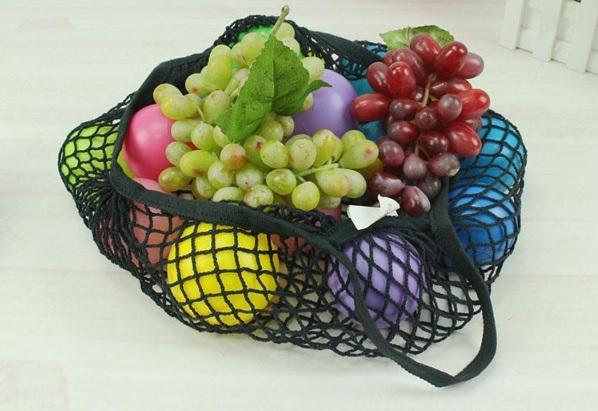 Malla algodon negra color con frutas ecologicas de colores bolsa con asa Bolsa Ecológica Malla de Algodón