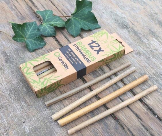 12 pajitas de bambú con su caja