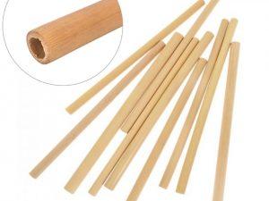 Pack 12 pajitas bambú tamaños diferentes terminaciones naturales