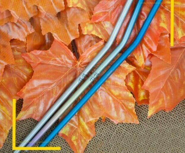 Pajita Puro TITANIO Formas y Colores color sostenible y natural METAL-fondo-hojas-curvadas épico