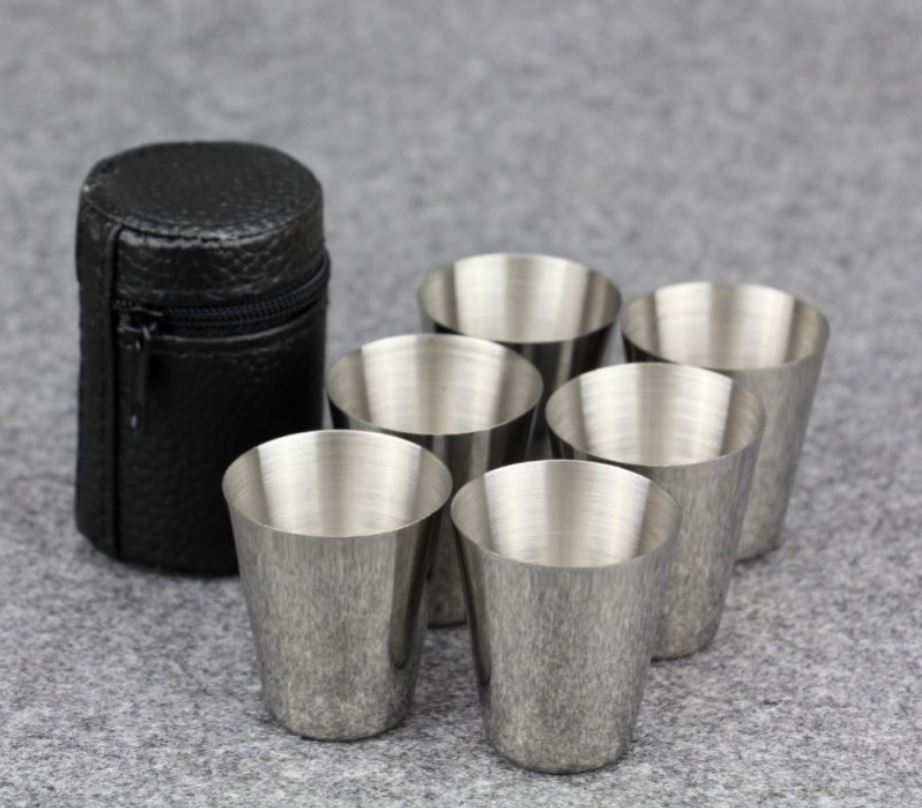 4 Vasos METAL 35ml ecológico con regalo