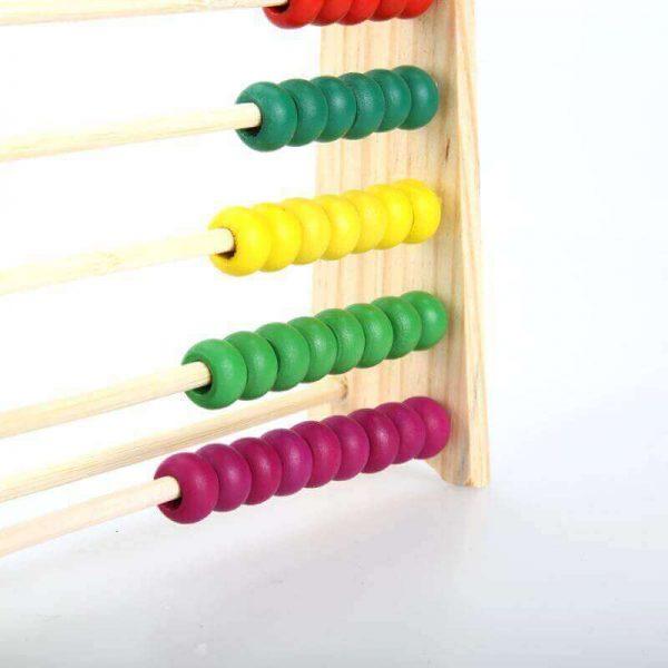 Ábaco MADERA matemáticas, materia prima natural, sostenible y ecológica, para niños y juegos, detalle zoom muchos colores
