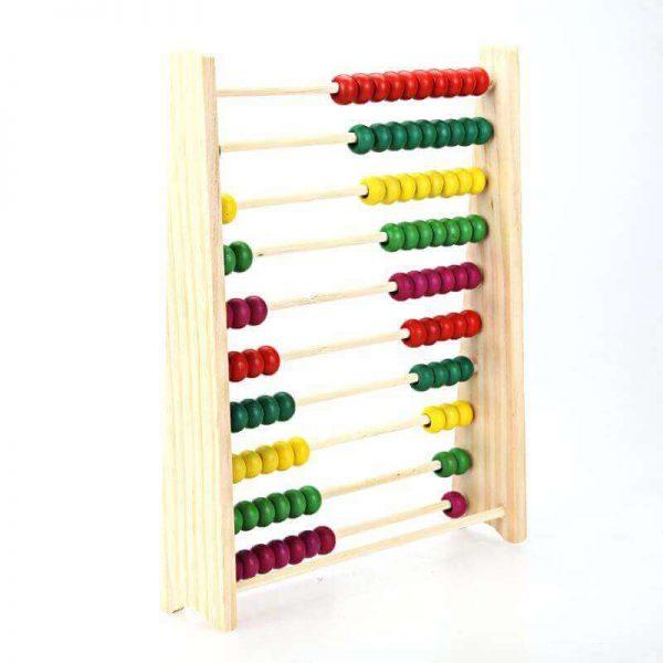 Ábaco MADERA matemáticas, materia prima natural, sostenible y ecológica, para niños y juegos, diagonal colores no contamina