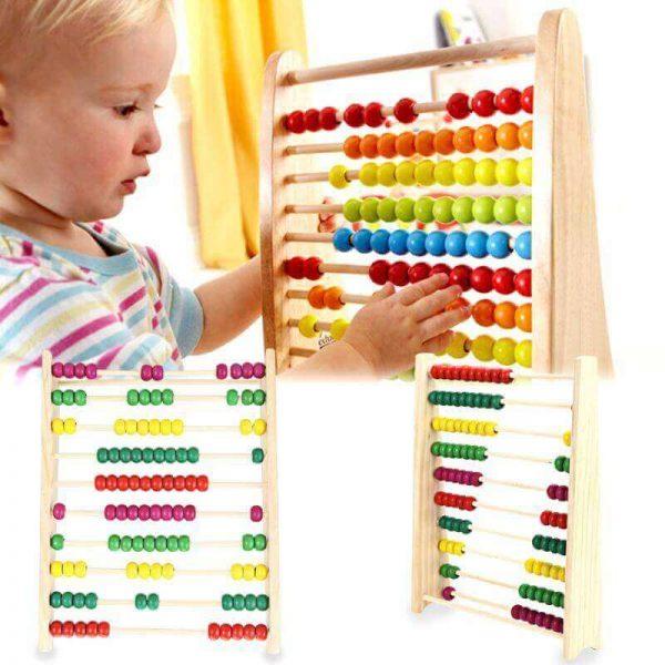 Ábaco MADERA matemáticas, materia prima natural, sostenible y ecológica, para niños y juegos, jugar bebe y mayores
