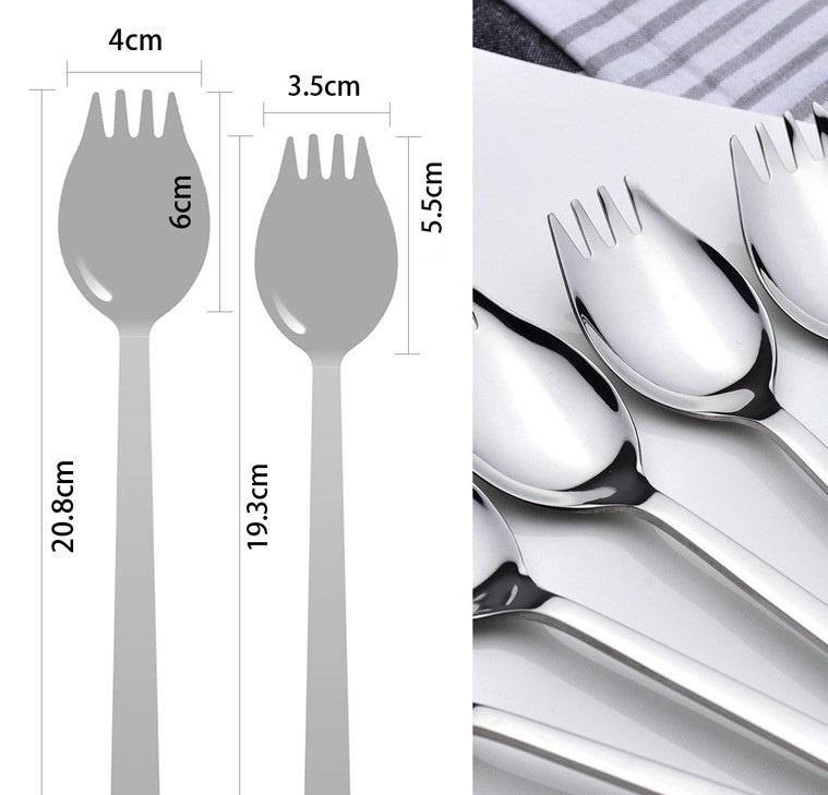 4 Tenedores Cuchara Metal para Paella cubierto selecto elegante natural y sostenible medidas tenedorcuchara