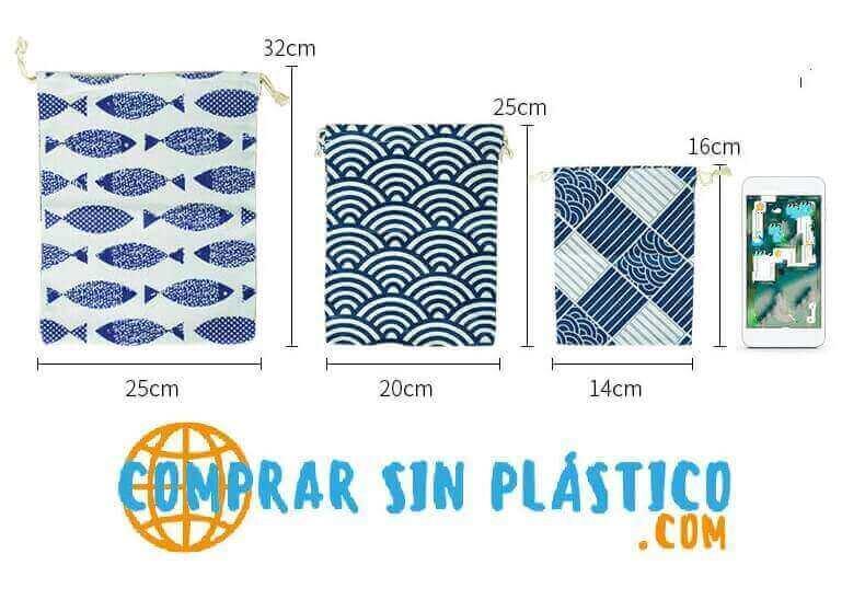 ALGODÓN 3 Tamaños diferentes, bolso almacenaje materia prima natural SIN PLÁSTICO, medidas