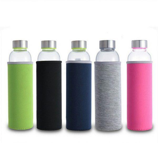 Botella-CRISTAL-y-ACERO-Portátil-Colores-todos comprar sin plástico