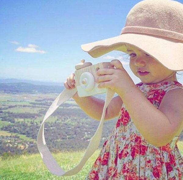 Cámara-Fotos-MADERA-niños-blanca-niña comprar sin plástico ecológico sostenible natural