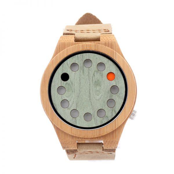 Reloj-BAMBÚ-y-CUERO-original-frontal comprar sin plástico moda elegante btc