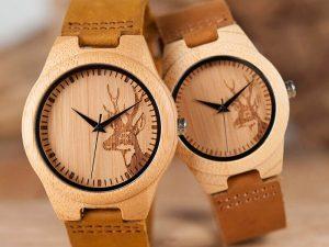 Reloj BAMBÚ Diseño ciervo y correa de CUERO, natural, comprar sin plástico, no contamina, a la moda siempre