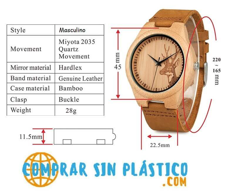 Reloj BAMBÚ Diseño ciervo y correa de CUERO, natural, comprar sin plástico, no contamina, modelo masculino, hombre casual