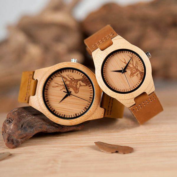 Reloj BAMBÚ Diseño ciervo y correa de CUERO, natural, comprar sin plástico, no contamina, reloj para hombres y mujeres