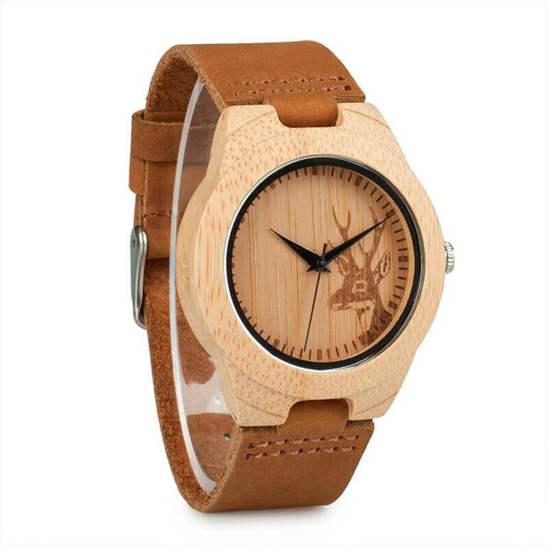 Reloj BAMBÚ Diseño ciervo y correa de CUERO, natural, comprar sin plástico, no contamina, reloj artesano