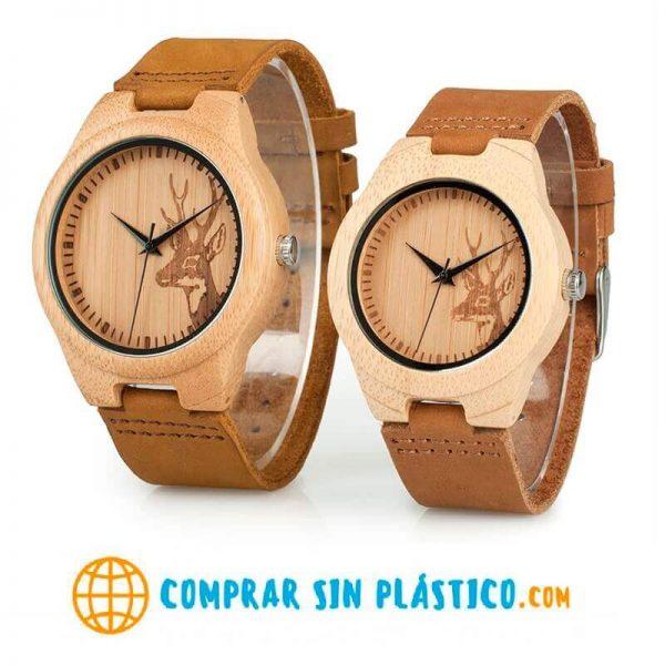 Reloj BAMBÚ Diseño ciervo y correa de CUERO, natural, comprar sin plástico, no contamina, reloj para ambos sexos