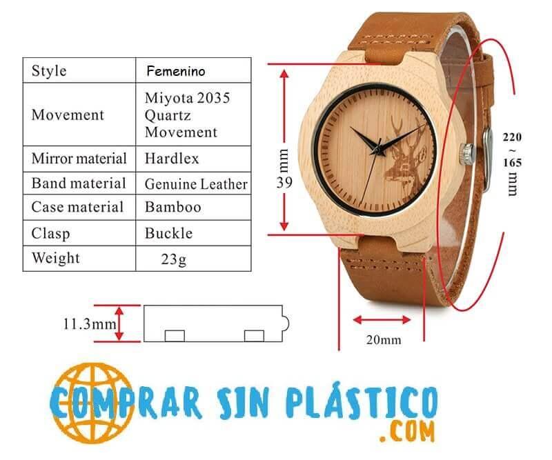 Reloj BAMBÚ Diseño ciervo y correa de CUERO, natural, comprar sin plástico, no contamina, modelo femenino