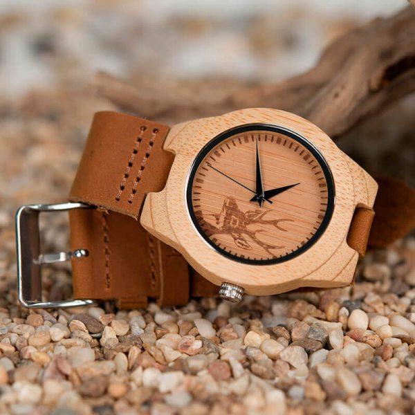 Reloj BAMBÚ Diseño ciervo y correa de CUERO, natural, comprar sin plástico, no contamina, bonito a rabiar