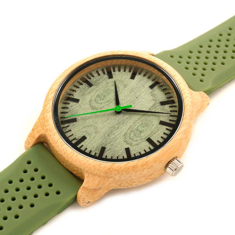 Reloj BAMBÚ y Correa de SILICONA Sándalo Verde, ecológico, sostenible. Comprar Sin Plástico, reloj actual