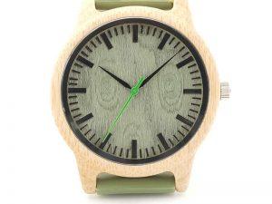 Reloj BAMBÚ y Correa de SILICONA Sándalo Verde, ecológico, sostenible. Comprar Sin Plástico, verde