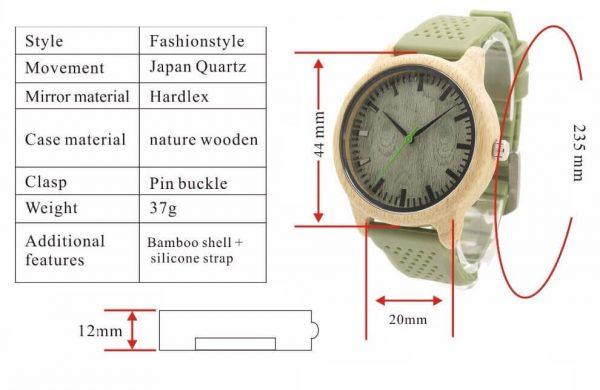 Reloj BAMBÚ y Correa de SILICONA Sándalo Verde, ecológico, sostenible. Comprar Sin Plástico, detalles del reloj de madera