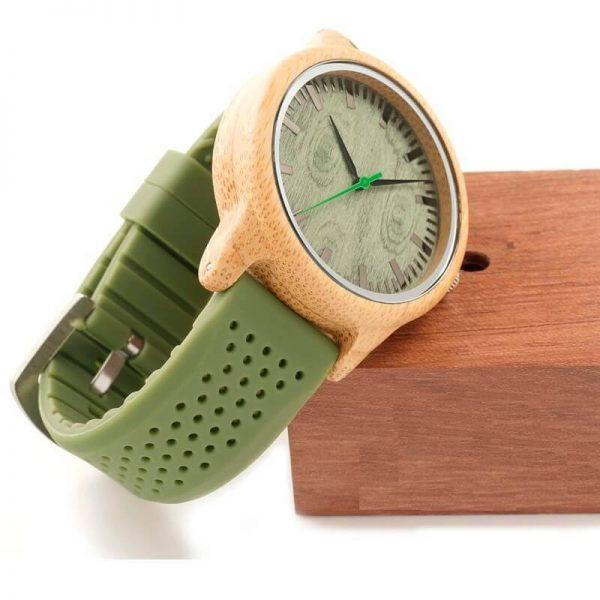 Reloj BAMBÚ y Correa de SILICONA Sándalo Verde, ecológico, sostenible. Comprar Sin Plástico, reloj con caja de regalo