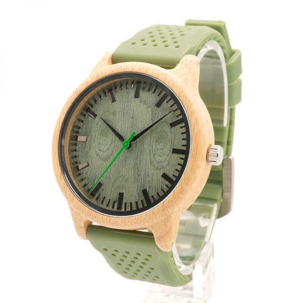 Reloj BAMBÚ y Correa de SILICONA Sándalo Verde, ecológico, sostenible. Comprar Sin Plástico, reloj de bamboo