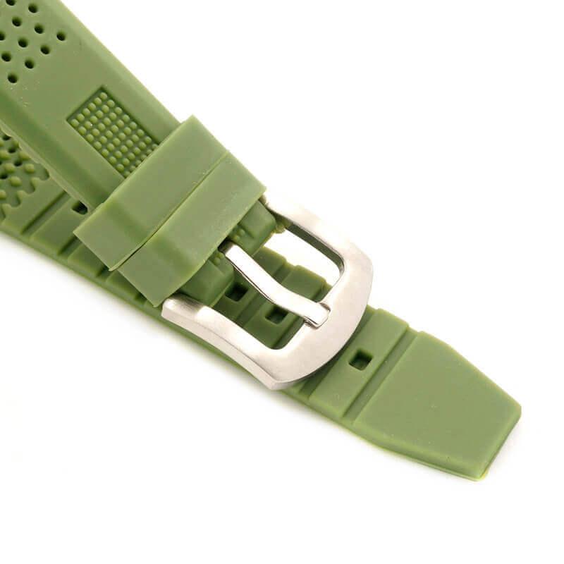 Reloj BAMBÚ y Correa de SILICONA Sándalo Verde, ecológico, sostenible. Reloj hebilla metálica comprar Sin Plástico