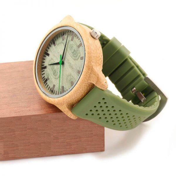 Reloj BAMBÚ y Correa de SILICONA Sándalo Verde, ecológico, sostenible. Comprar Sin Plástico, incluye caja de regalo