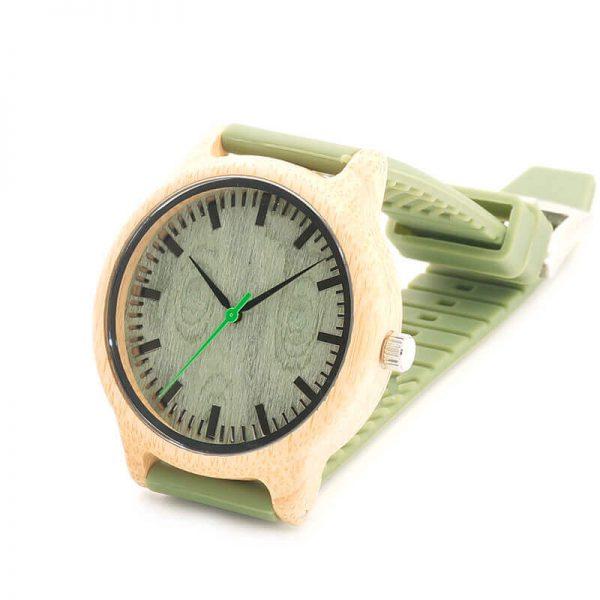 Reloj BAMBÚ y Correa de SILICONA Sándalo Verde, ecológico, sostenible. Comprar Sin Plástico, reloj único