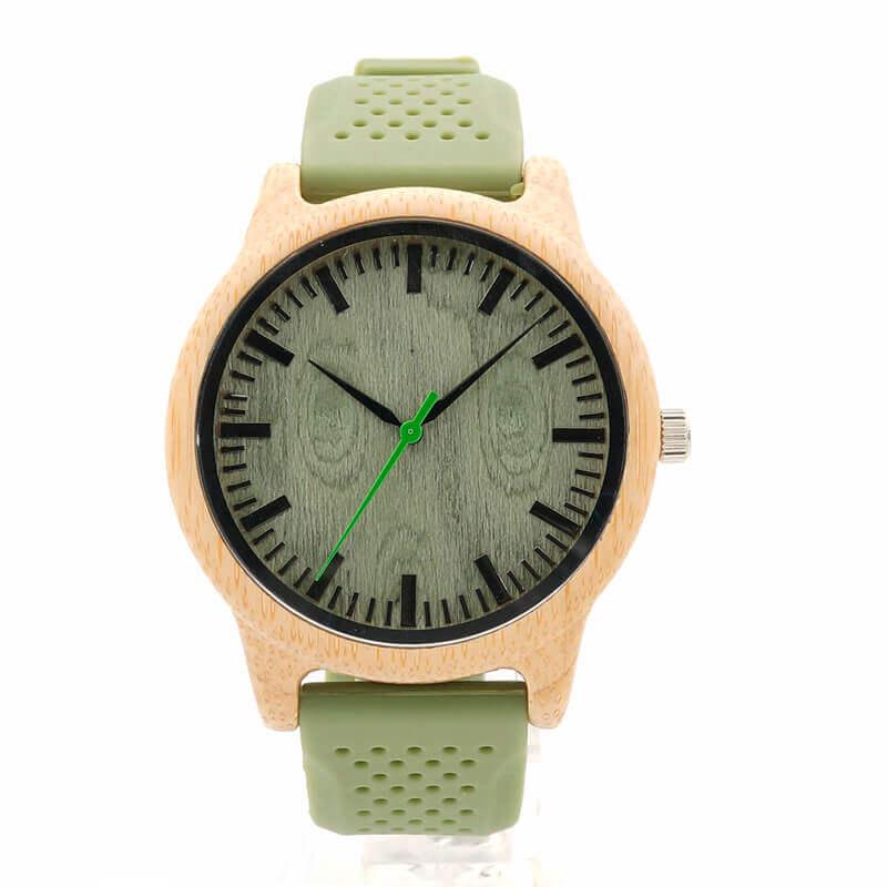Reloj BAMBÚ y Correa de SILICONA Sándalo Verde, ecológico, sostenible. Comprar Sin Plástico, reloj verde