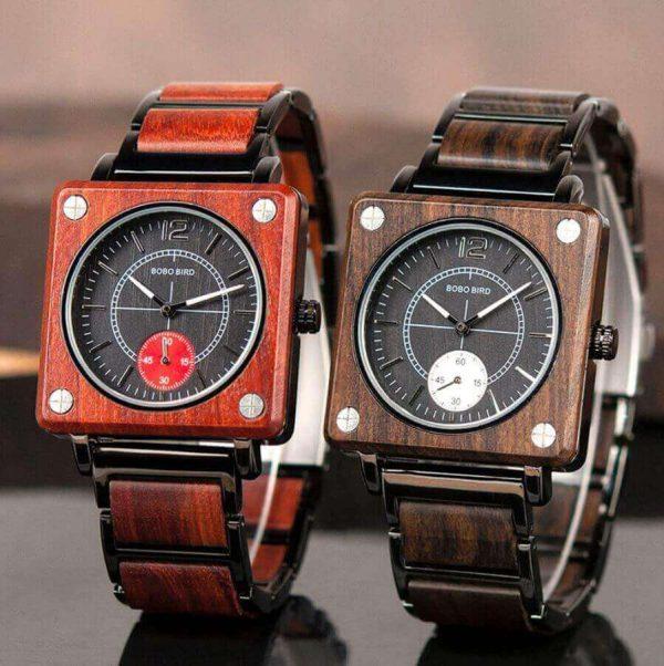 Reloj Cuadrado de MADERA Diseño elegante, comprar sin plástico, moda sostenible, original