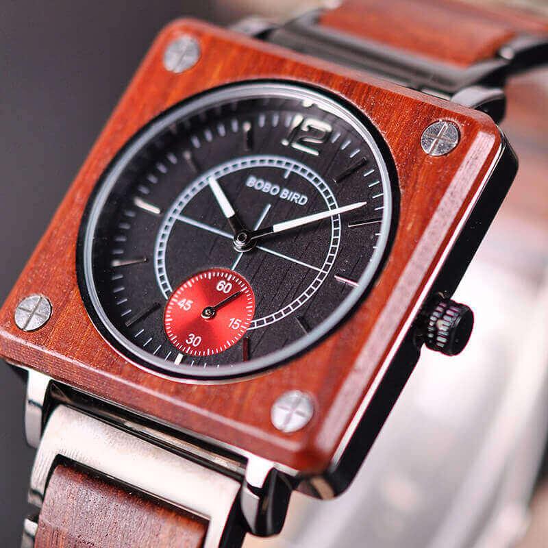 Reloj Cuadrado de MADERA Diseño elegante, comprar sin plástico, moda sostenible, color caoba