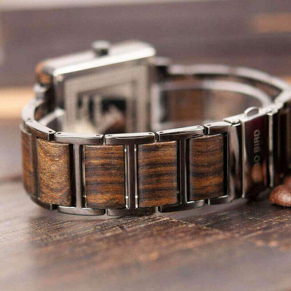 Reloj Cuadrado de MADERA Diseño elegante, comprar sin plástico, moda sostenible, parte de atrás del reloj