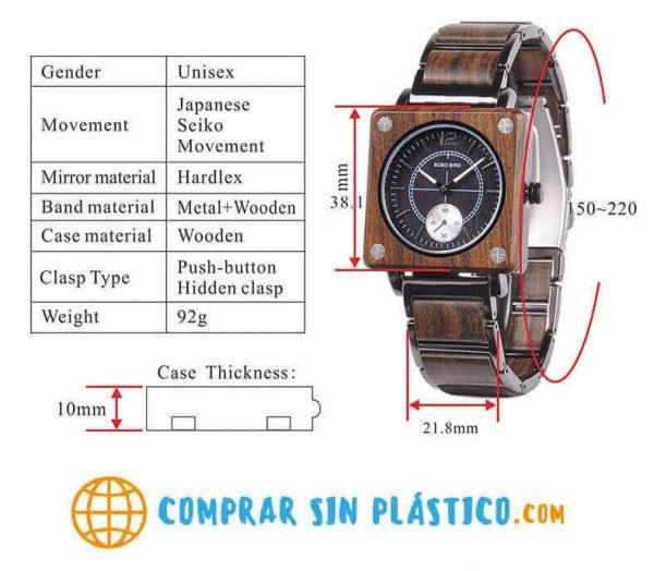 Reloj Cuadrado de MADERA Diseño elegante, comprar sin plástico, moda sostenible, especificaciones técnicas del reloj