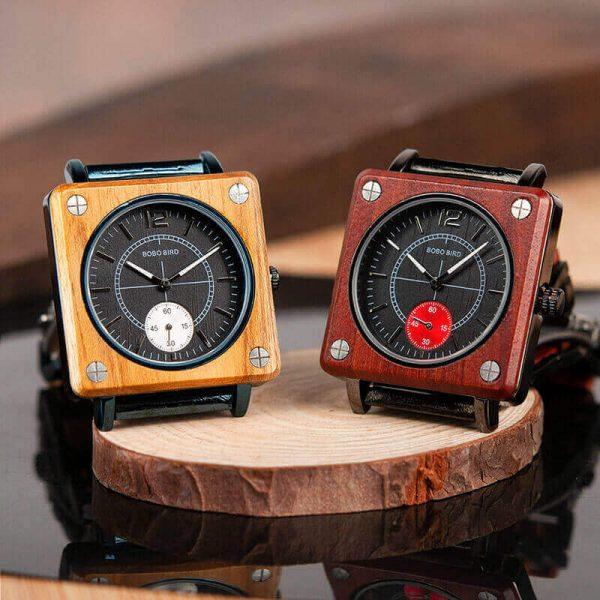 Reloj Cuadrado de MADERA Diseño elegante, comprar sin plástico, moda sostenible, dos colores
