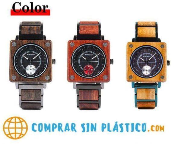 Reloj Cuadrado de MADERA Diseño elegante, comprar sin plástico, moda sostenible, 3 colores