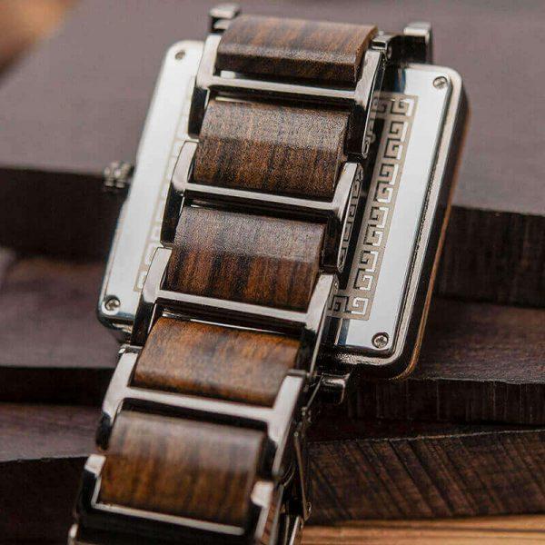Reloj Cuadrado de MADERA Diseño elegante, comprar sin plástico, moda sostenible, hebilla de atrás