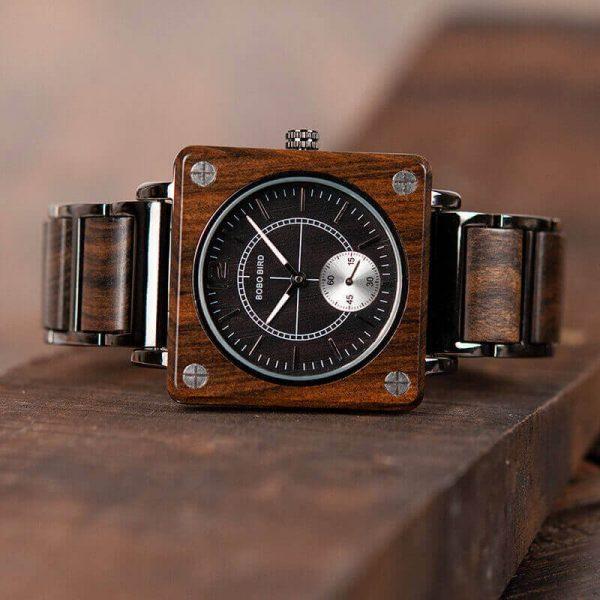 Reloj Cuadrado de MADERA Diseño elegante, comprar sin plástico, moda sostenible, color oscuro reloj
