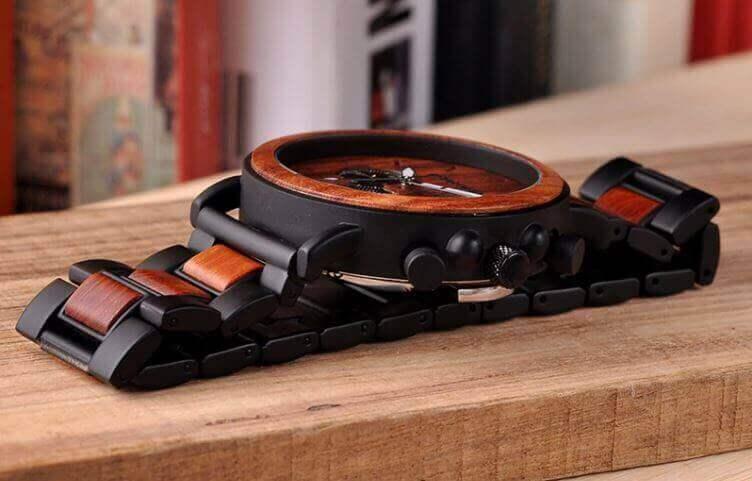Reloj Informal de MADERA cronógrafo cronómetro y calendario. Comprar SIN Plástico, Reloj bueno