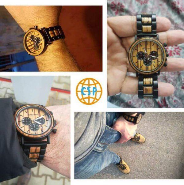 Reloj Informal de MADERA cronógrafo cronómetro y calendario. Comprar SIN Plástico, Reloj collage