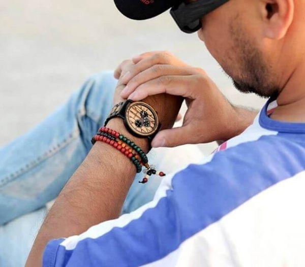 Reloj Informal de MADERA cronógrafo cronómetro y calendario. Comprar SIN Plástico, Reloj que da la hora