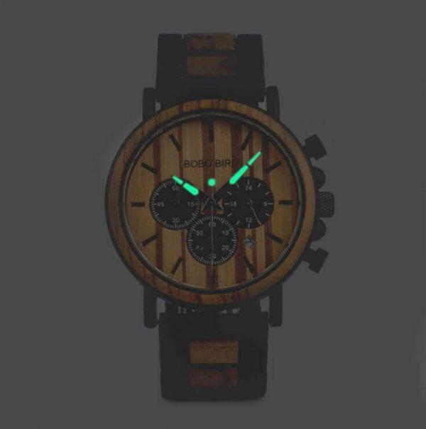 Reloj Informal de MADERA cronógrafo cronómetro y calendario. Comprar SIN Plástico, Reloj que brilla en la oscuridad