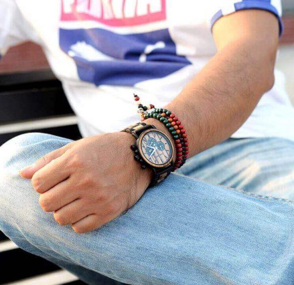 Reloj Informal de MADERA cronógrafo cronómetro y calendario. Comprar SIN Plástico, Reloj para la calle