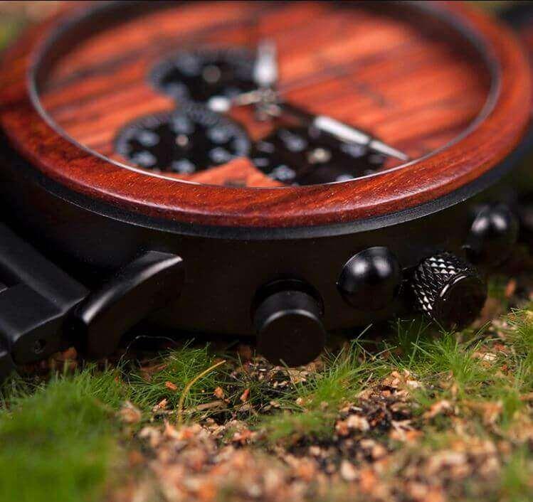 Reloj Informal de MADERA cronógrafo cronómetro y calendario. Comprar SIN Plástico, Reloj zoom