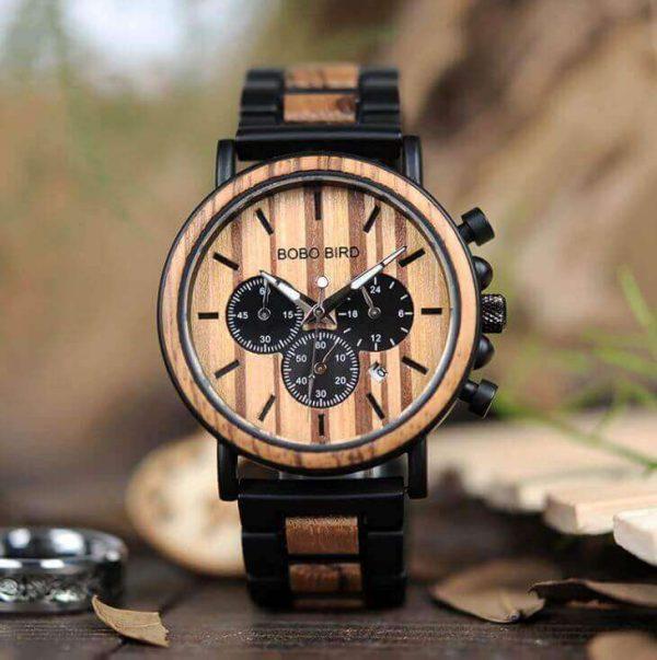 Reloj Informal de MADERA cronógrafo cronómetro y calendario. Comprar SIN Plástico, Reloj para hombres