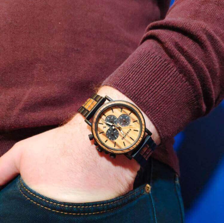 Reloj Informal de MADERA cronógrafo cronómetro y calendario. Comprar SIN Plástico, Reloj que viste bien