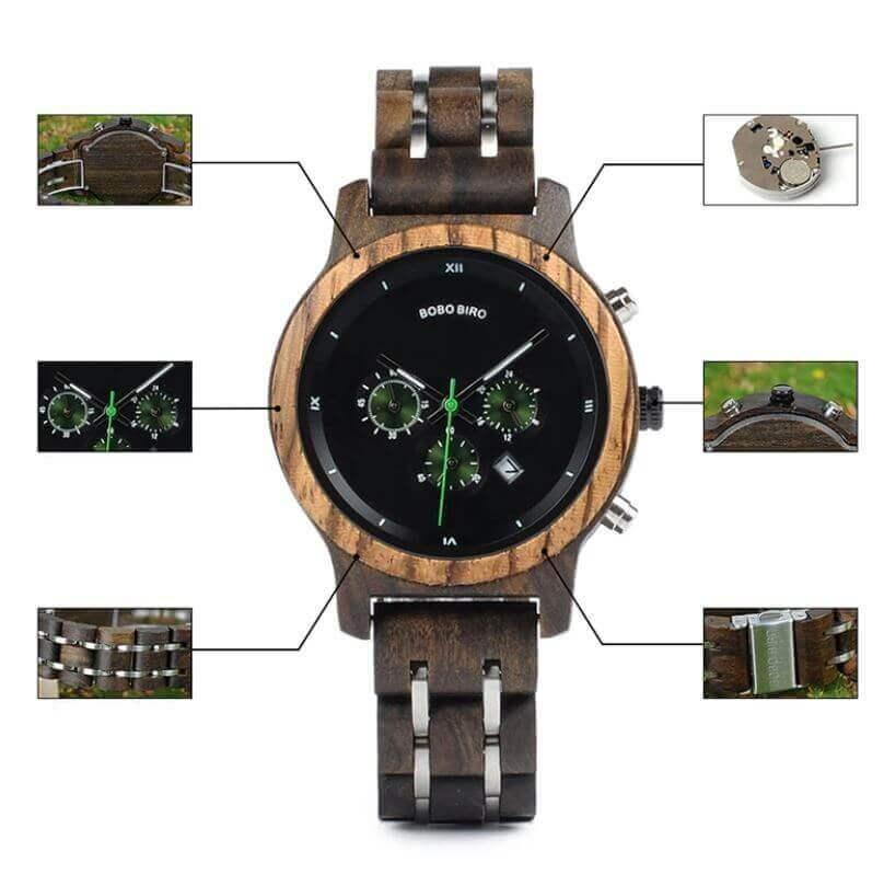Reloj MADERA de Diseño Actual, materiales nobles, el tiempo en tu mano, tiempo exacto, fondo negro