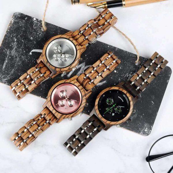Reloj MADERA de Diseño Actual, materiales nobles, el tiempo en tu mano, tiempo exacto, 3 modelos diferentes
