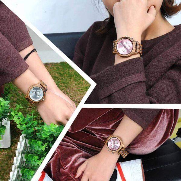 Reloj MADERA de Diseño Actual, materiales nobles, el tiempo en tu mano, tiempo exacto, mujer activa